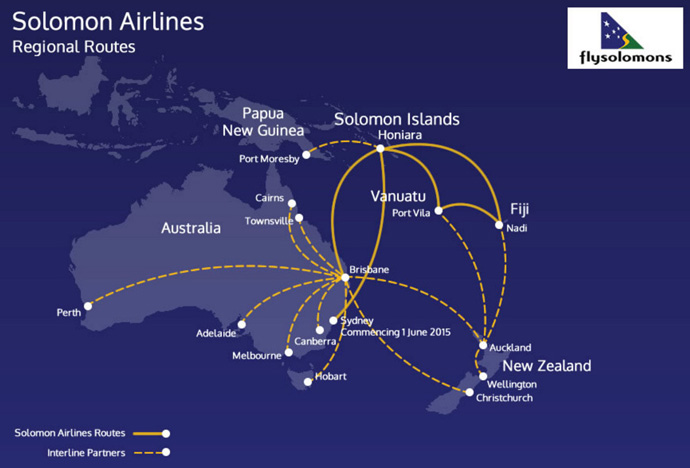 Solomon Island airlines routes